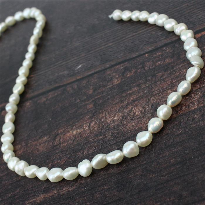 White Cultured Freshwater Pearls Approx 5x7 to 7x8mm