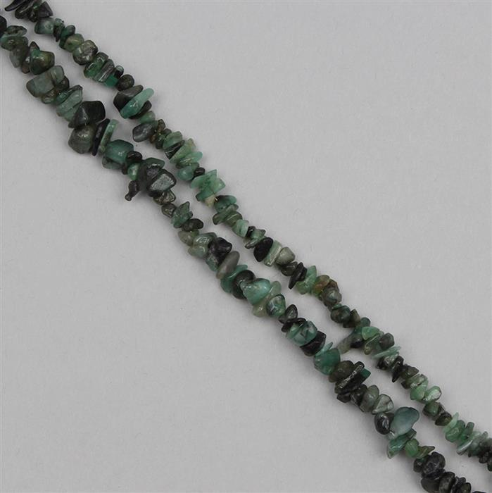 620cts Emerald Graduated Plain Medium Nuggets Approx 6x2 to 12x3mm, 250cm Strand.