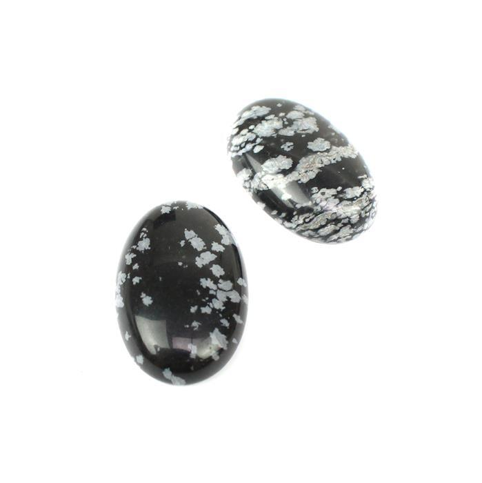 35cts Snowflake Obsidian, Oval Cabochons Approx 20x30mm (2pcs/pack)