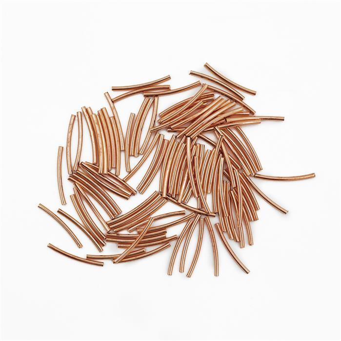 Rose Gold Plated Brass Plain Curved Tube Spacers - 25x1.5mm (100pcs/pk)