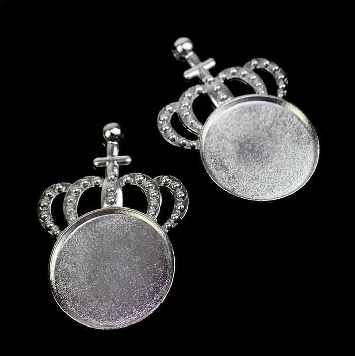 Silver Colour Bezel Pendant in Crown Shape Approx 34x48mm (Set of 2)