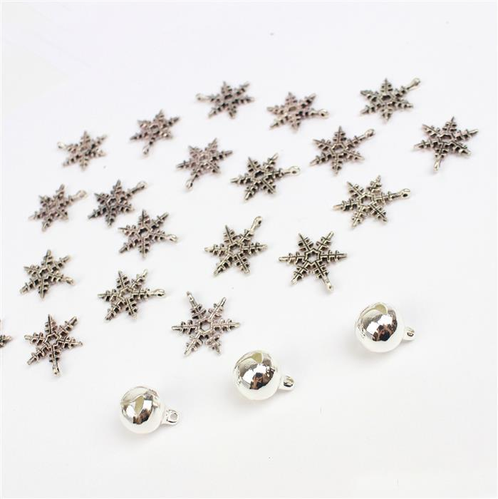 Christmas Charm: Silver plated bells & snowflake charms for all your christmas makes