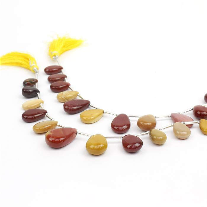 2x 84cts Mookite Graduated Plain Pears Approx 13x6 to 17x10mm, 14cm Strand.