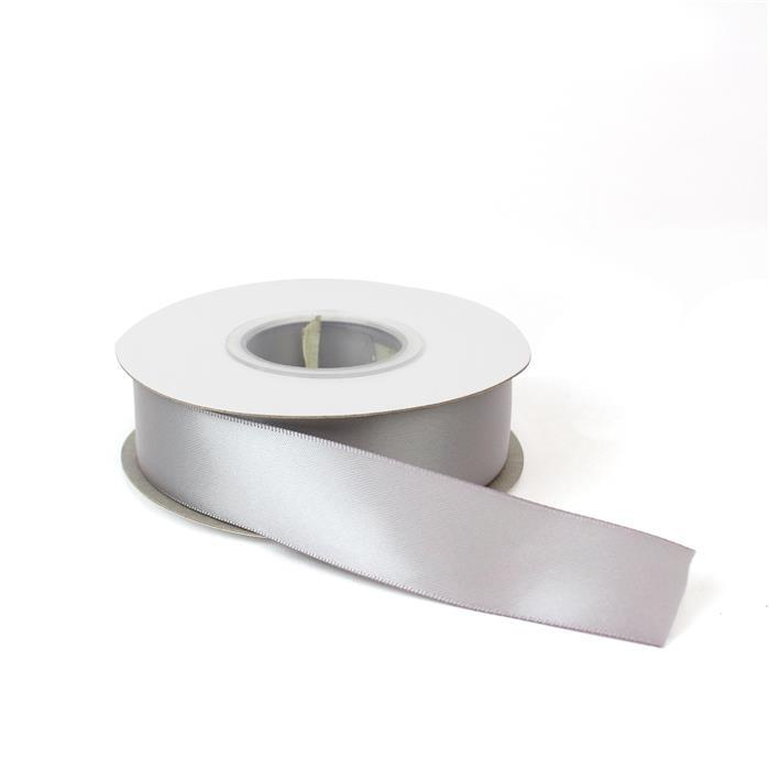 Silver Double Faced Satin Ribbon, Approx 25mm (20m Length)