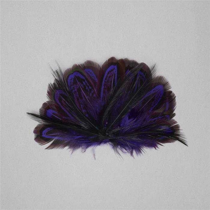 Black and Purple Feathers Fan Approx 90x60mm