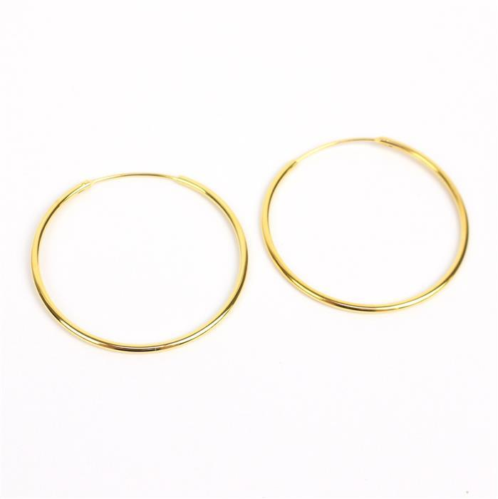 Gold Plated 925 Sterling Silver Hoop Earrings Approx 1.5x38mm