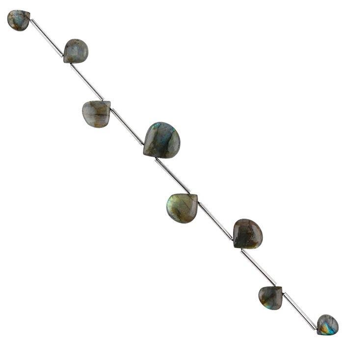 80cts Labradorite Graduated Plain Flat Drops Approx 11 to 18mm, 22cm Strand.
