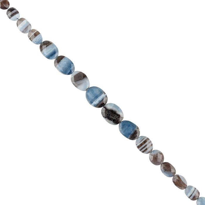 96cts Opal with Chalcedony Graduated Faceted Straight Drilled Ovals Approx 10x8 to 16x11mm, 20cm Strand.