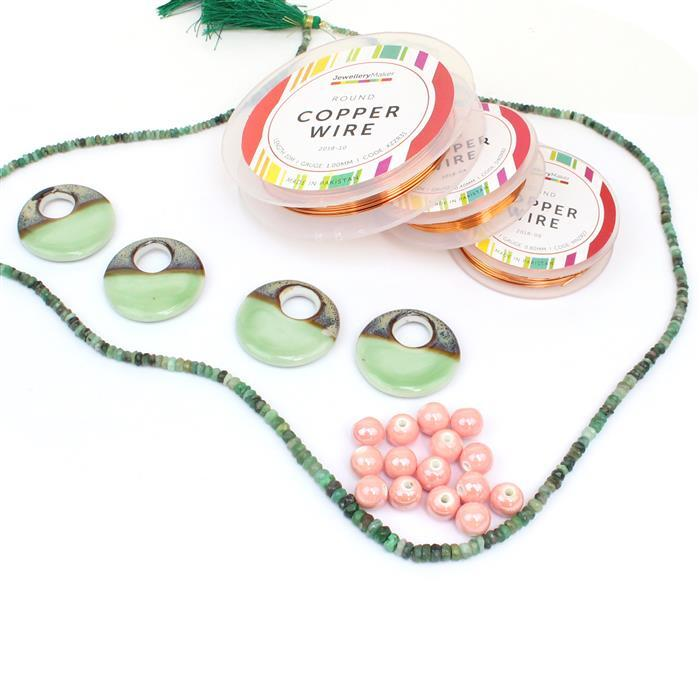 Mint Donut; 4x Mint Ceramic Donut Beads, 110cts Emerald, Pink Round Ceramic Beads 11mm & Wire