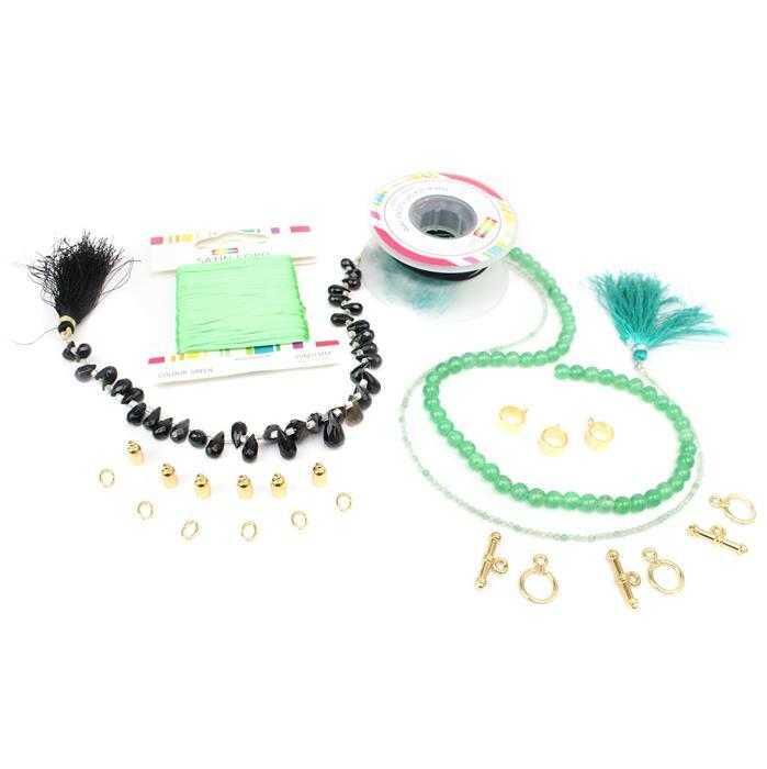 Pure Indulgence Inc. Black Onyx, Green Quartz, Satin Cord and Accessory Pack