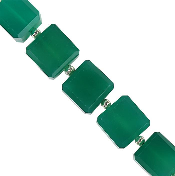 50cts Green Onyx Step Cut Cubes 10mm. (strand of 5)