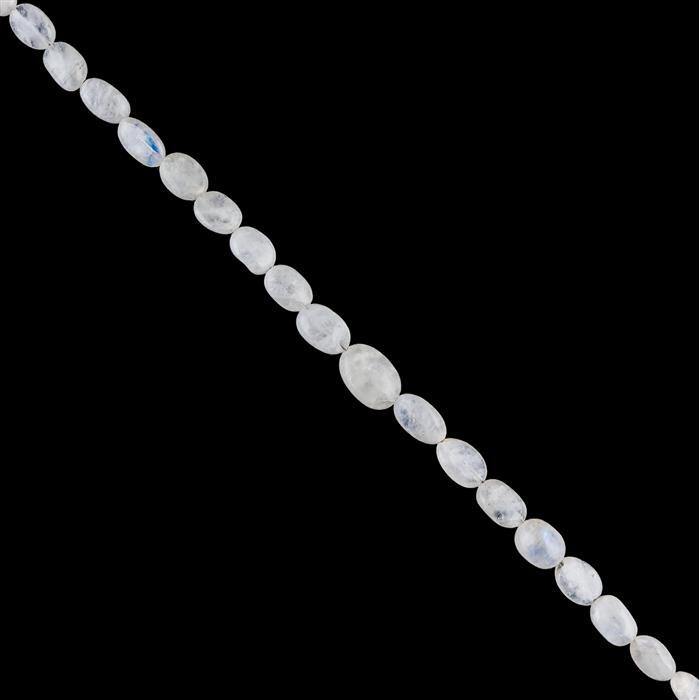 60cts Rainbow Moonstone Graduated Plain Ovals Approx 6x4 to 11x7mm, 30cm Strand.