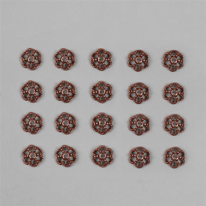 Antique Bronze Plated Alloy Carved Flower Caps - 9mm Findings Pack (20pcs/pk)
