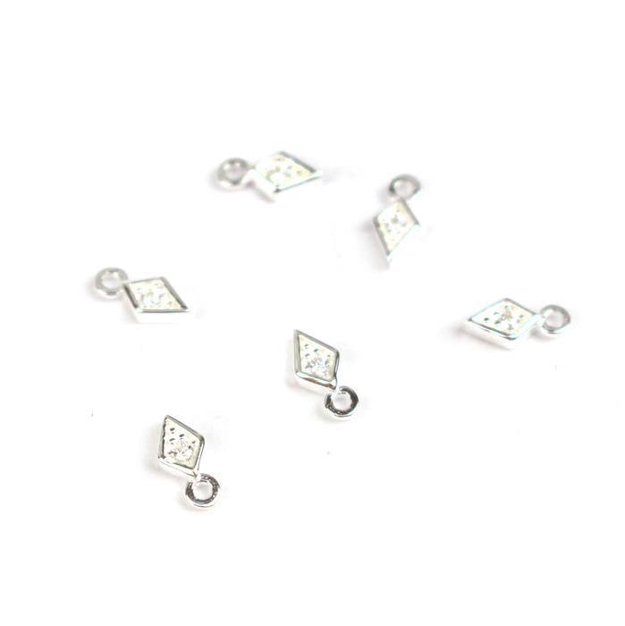 925 Sterling Silver Mini Rhombus With Cubic Zircon Charms Approx 7x3mm (6pcs)