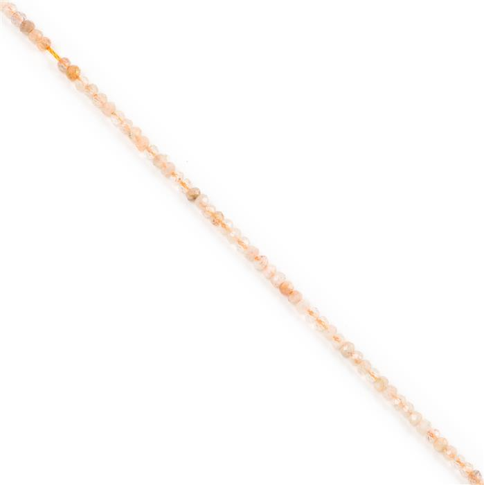 15cts Sunstone Faceted Rondelles Approx 3x2mm, 38cm Strand