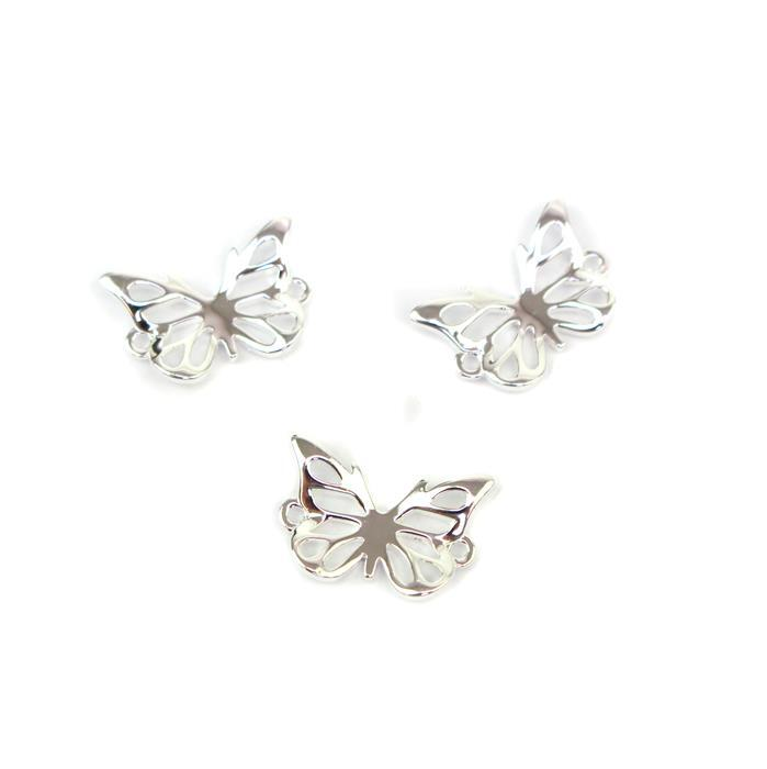 925 Sterling Silver 3D Butterfly Connectors Approx 10x15mm, 3pcs