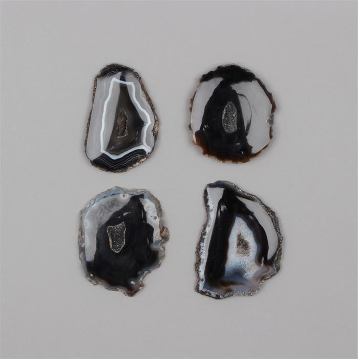 750cts Black Druzy Agate Multi Shapes Slices.