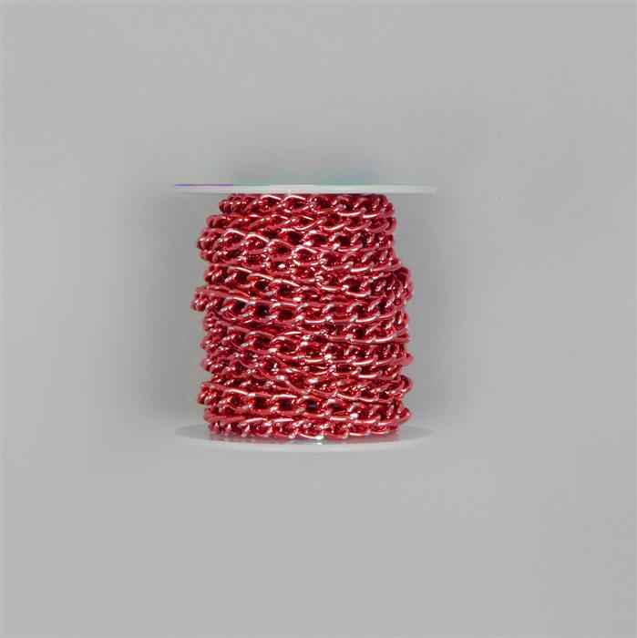 5m Red Aluminum Alloy Chain Approx 8x5mm