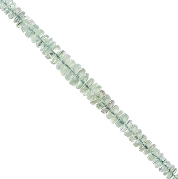 70cts Prasiolite Graduated Plain Wheels Approx 5x2 to 8x2mm, 18cm Strand.