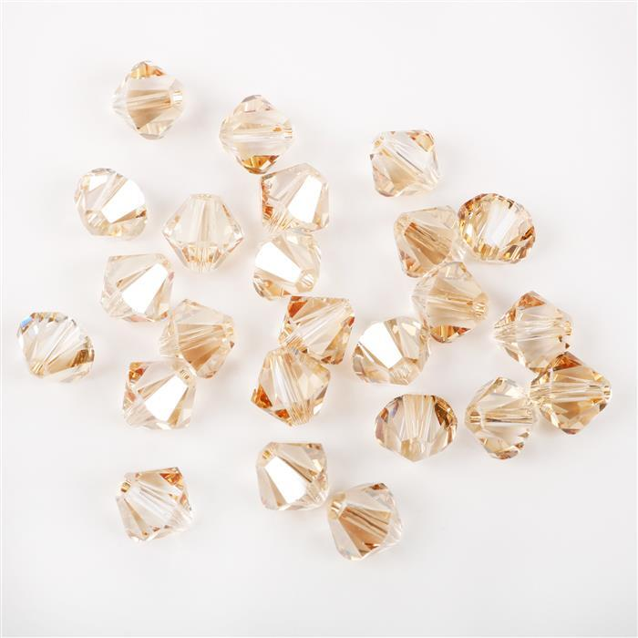 Swarovski Crystal Beads - Pack of 24 Bicones 5328 - 6mm Crystal Golden Shadow
