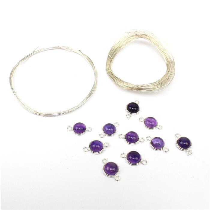 Emperor Butterfly INC Amethyst Round Bezel Connectors & 6m Sterling Silver Wire
