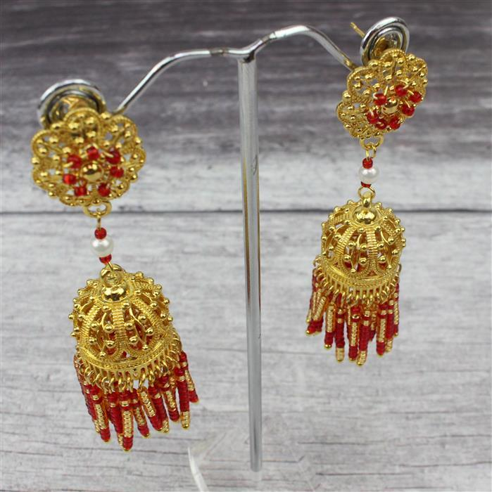 Jhumkas INC Gold Filigrees, 2mm White Topaz, 4mm Pearls, Magenta, Ruby & Gold Seed Beads