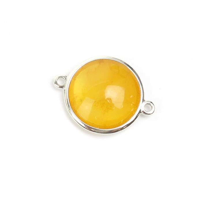 Baltic Butterscotch Amber Sterling Silver Connector Approx 22x18mm