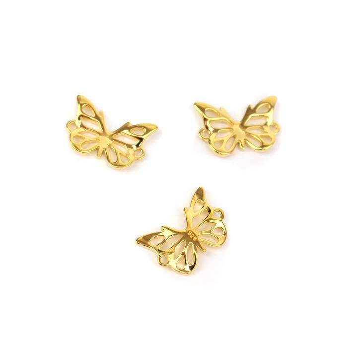 Gold Plated 925 Sterling Silver 3D Butterfly Connector Approx 10 X15mm, 3pcs