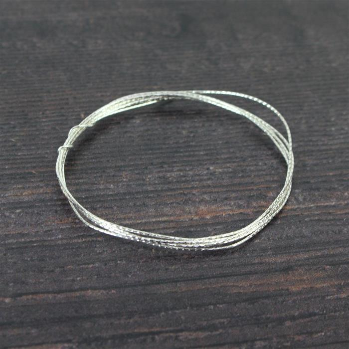 1m 925 Sterling Silver Diamond Cut Round Wire, Approx 0.8mm