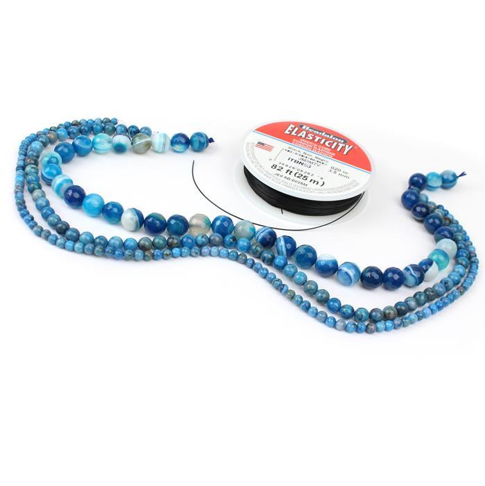 Blue Velvet stretchy kit with Blue Stripe Agate Rounds in 3 sizes & black elastic cord