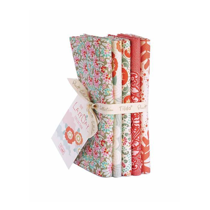 Tilda Lazy Days Coral Fat Quarter Bundle 5 Pieces
