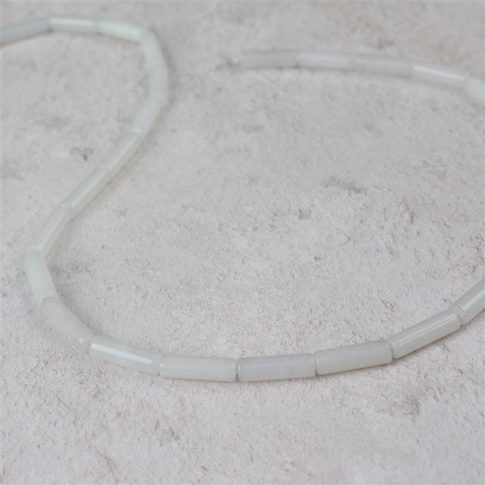 50cts White Quartzite Tubes Approx 4x13mm, 38cm strand