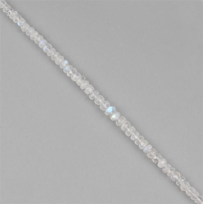 34cts Rainbow Moonstone Graduated Faceted Rondelles Approx 3x2 to 5x3mm, 16cm Strand.