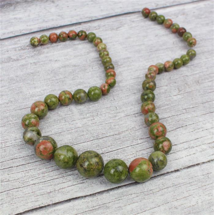 185cts Unakite Graduated Rounds Approx 6-14mm, 38cm strand