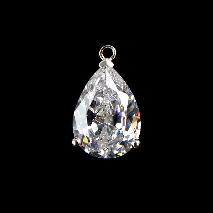 925 Sterling Silver Cubic Zirconia Drop Charm Approx 18mm, 1pcs