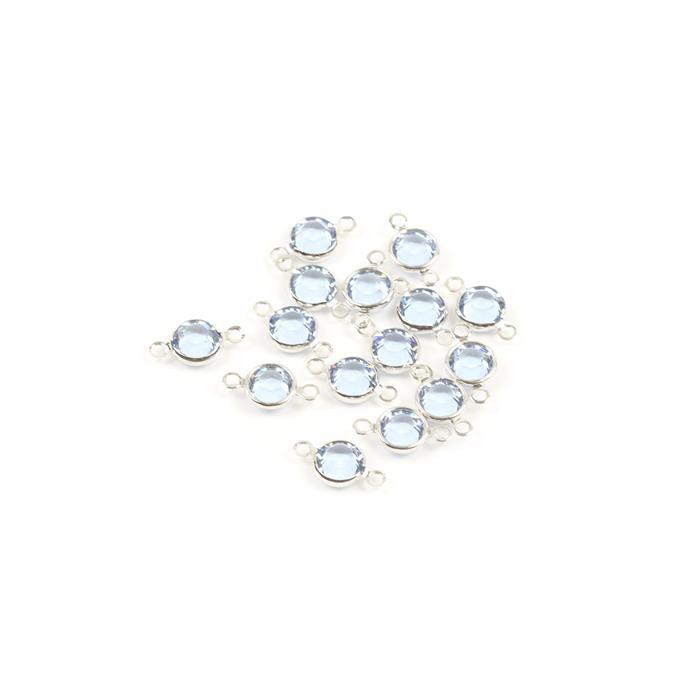 Swarovski Crystal Light Sapphire with Channel Setting Rhodium Plated 2 Ring Connectors - 15pk