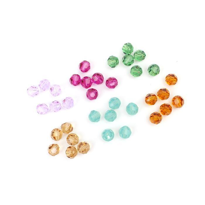 6 Of 6! Inc 6 Colours Of 8mm Swarovski Rounds In Packs Of 6