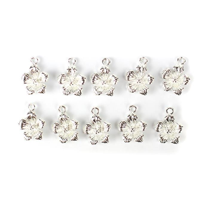 Silver Plated Brass Hibiscus Charm Approx 15x12mm 10pc/pk