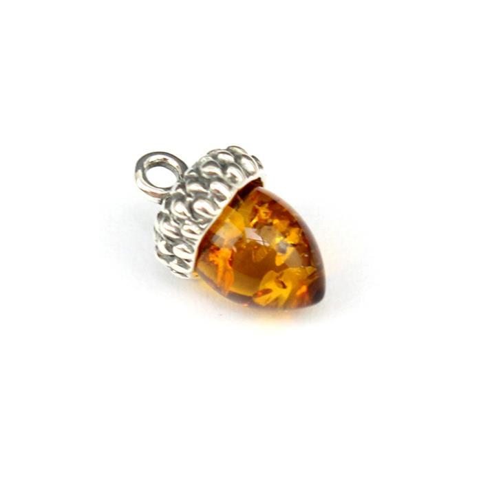 925 Silver Baltic Cognac Amber Acorn Charm Approx 12x8mm