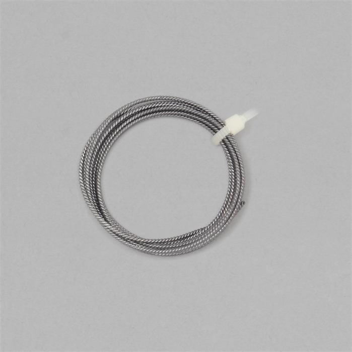 1m Black Rhodium Plated 925 Sterling Silver Twisted Wire Approx 1mm