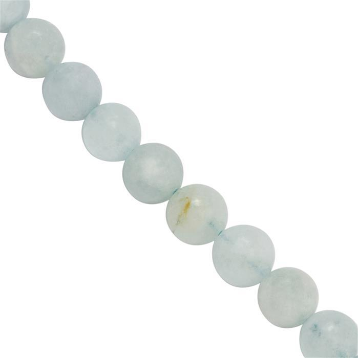 90cts Mozambique Aquamarine Smooth Round Approx 7 to 8mm, 20cm Strand