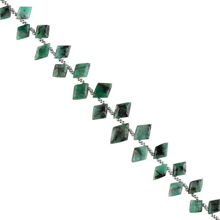 65cts Emerald Graduated Step Cut Rhombus Approx 9x6 to 14x9mm, 22cm Strand.