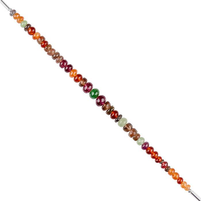 24cts Multi Colour Garnet Graduated Plain Rondelles Approx 2x1 to 5x3mm, 8cm Strand.