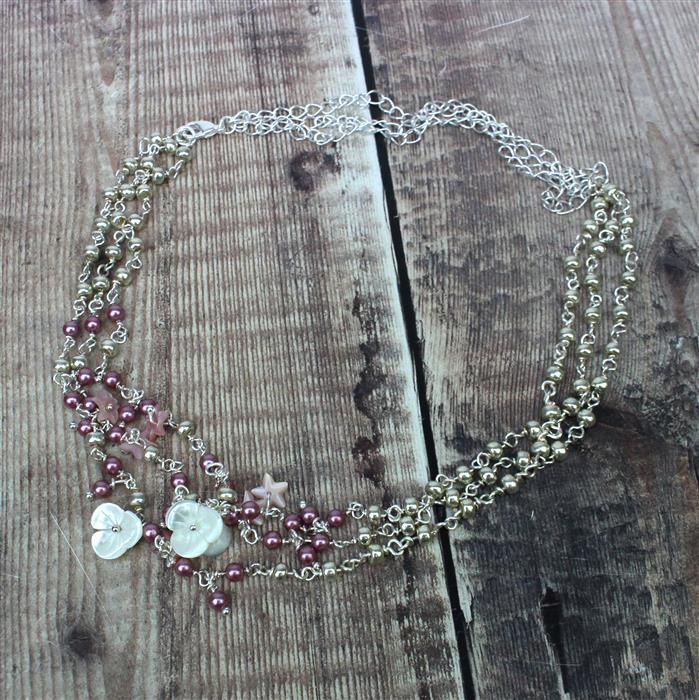 Florals INC Peach & white petal shell flowers, pink shell pearl 4mm rds & silver findings