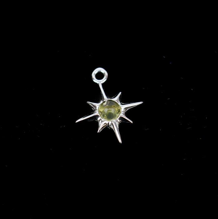 Baltic Lemon Amber Star Charm Sterling Silver Approx 16x13mm