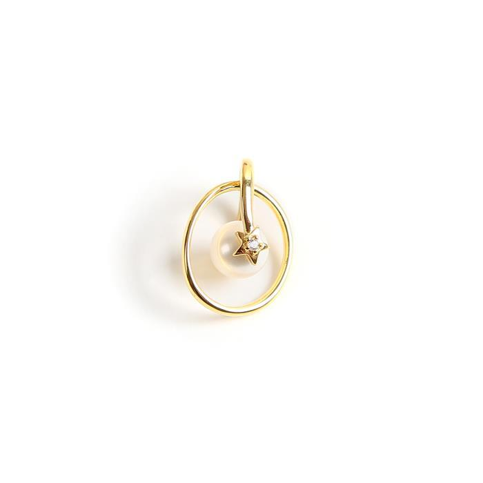 Gold Plated 925 Sterling Silver Hoop Pendant With Freshwater Pearl & Star With Cubic Zirconia Approx 15x20mm