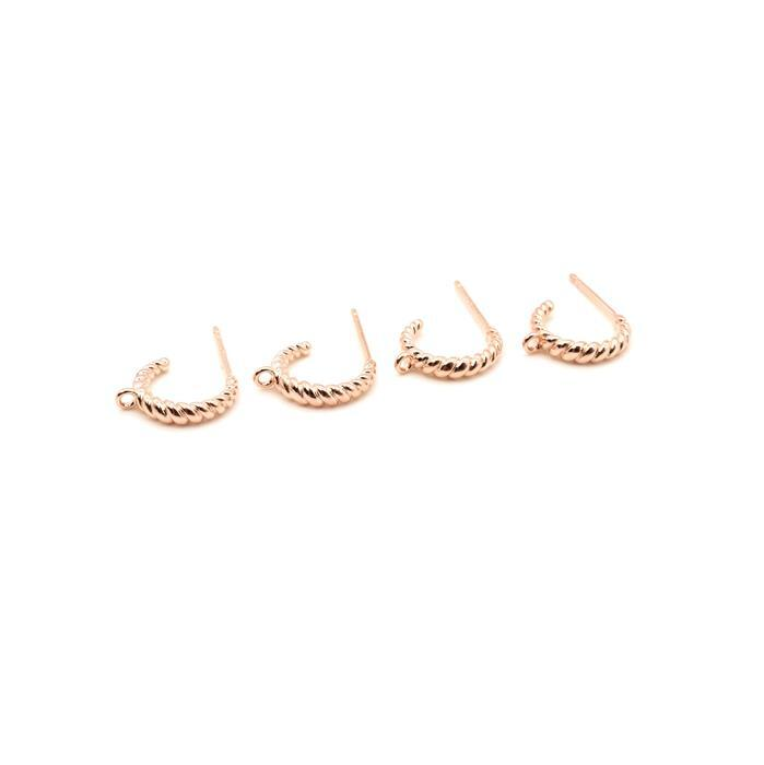 Rose Gold 925 Sterling Silver Twist Hoop Earrings With Texture & Loop Approx 12mm (2Pairs)