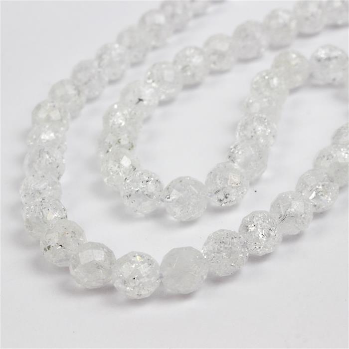 150cts Crackled Quartz Faceted Rounds Approx 8mm 38cm strand