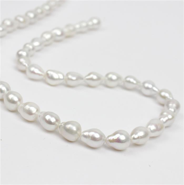 White Freshwater Drop Pearls Approx 6-7mm, 38cm Strand