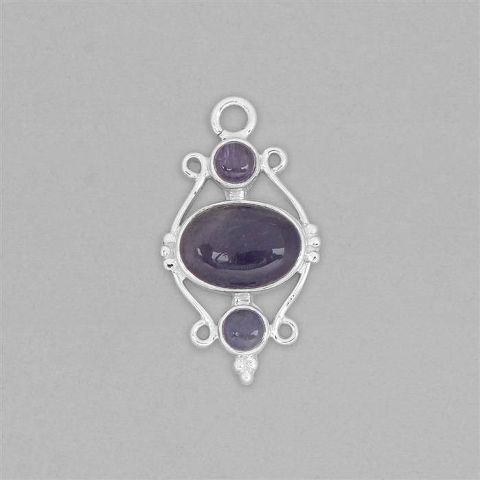 925 Sterling Silver Gemset Pendant Approx 33x18mm Inc. 6cts Tanzanite Cabochons